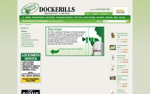 Screenshot of Services Page dockerills.co.uk - Services Dockerills Brighton | Architectural Ironmongers - captured Oct. 5, 2014