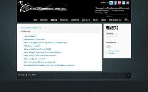 Screenshot of FAQ Page iyde.org - FAQ - captured Oct. 6, 2014