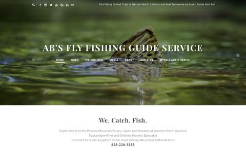 Screenshot of Home Page abfish.org - AB's Fly Fishing Guide Service - Fly Fishing Trips with Alex Bell in Western North Carolina Mountain Trout Streams - captured Feb. 4, 2016