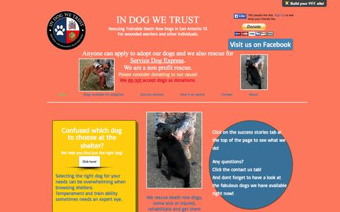 Screenshot of Home Page in-dog-we-trust.com - In Dog We Trust rescue, San Antonio, TX - captured June 19, 2015