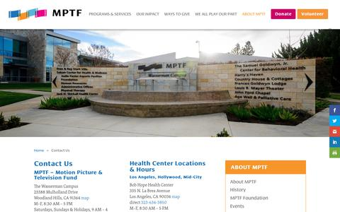 Screenshot of Contact Page mptf.com - Contact Us - MPTF - captured July 26, 2018