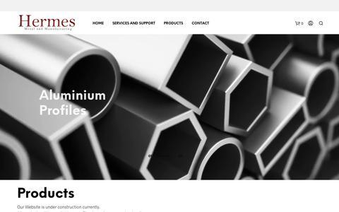 Screenshot of Products Page hermesmetal.com - Products - Hermes Metal - captured Nov. 4, 2018