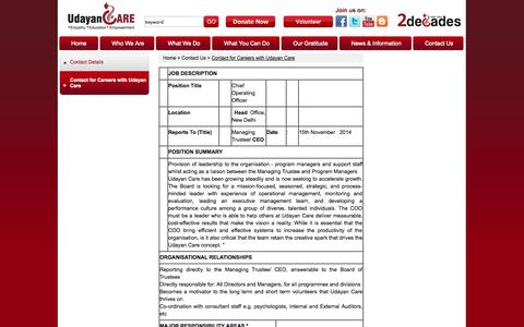 Screenshot of Jobs Page udayancare.org - Contact for Career with Udyan Care - captured Oct. 27, 2014