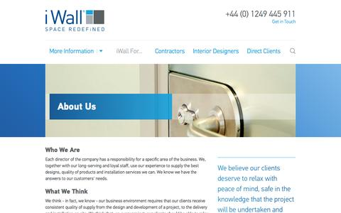 Screenshot of About Page iwall.co.uk - About Us | The i Wall Complete Service Solution - captured Nov. 3, 2014
