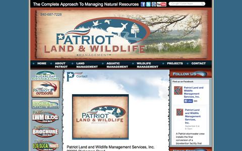 Screenshot of Contact Page patriotlwm.com - Contact Patriot Land and Wildlife Management - captured Oct. 2, 2014