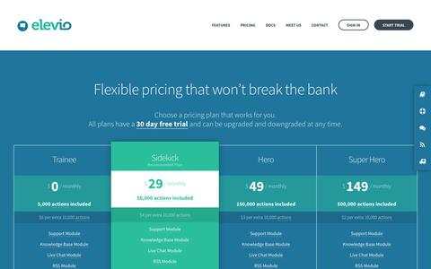 Screenshot of Pricing Page elev.io - Pricing - See how cheap it is to lower your support - Elevio - captured Dec. 17, 2014