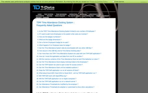 Screenshot of FAQ Page t-data.co.uk - TIMY Time and Attendance Clocking System FAQs | T-Data - captured Oct. 27, 2014
