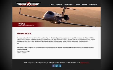 Screenshot of Testimonials Page wcas.aero - West Coast Aviation Services, LLC - Testimonials - captured Oct. 7, 2014