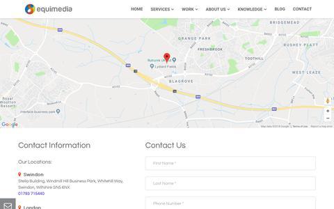 Screenshot of Contact Page equimedia.co.uk - Contact Main - captured July 24, 2018