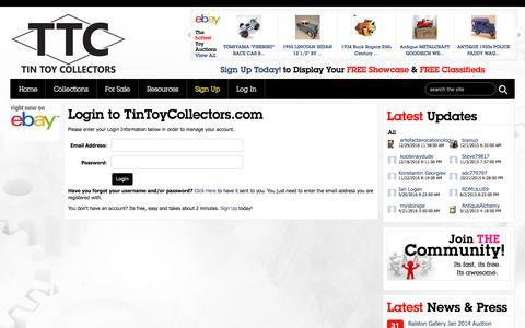 Screenshot of Login Page tintoycollectors.com - Tin Toy Collectors » Login - captured Jan. 25, 2017