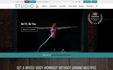 Screenshot of Home Page studiouboston.com - Studio U Boston - Best Boston Fitness Studio - captured Feb. 10, 2018