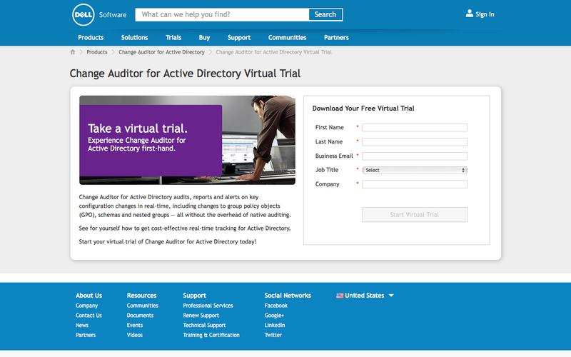 Change Auditor for Active Directory virtual trial | Dell Software