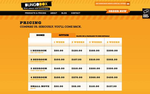 Screenshot of Pricing Page bungobox.ca - Pricing - captured Feb. 8, 2016