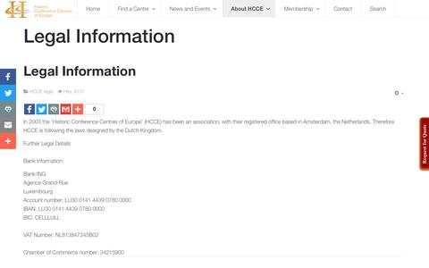 Screenshot of Terms Page hcce.com - HCCE - Historic Conference Centres of Europe - Legal Information - captured Aug. 13, 2017