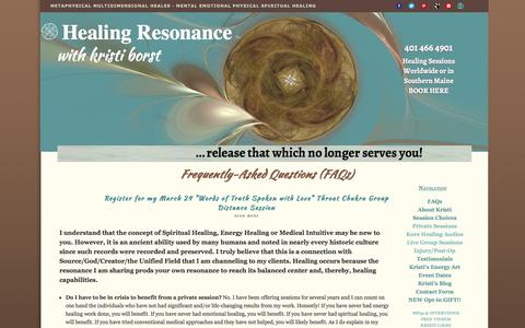 Screenshot of FAQ Page healing-resonance.info - Does Energy Healing Really Work? Distance healing and in person in Southern Maine - captured March 18, 2016