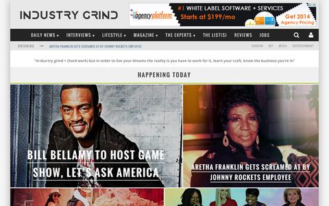 Screenshot of Home Page industrygrind.com - The Business & Lifestyle of F.A.M.E - Industry Grind - captured Sept. 30, 2014