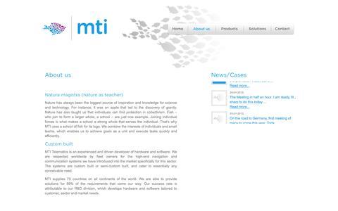 Screenshot of About Page mtitelematics.com - About - MTI Telematics - captured Feb. 3, 2016