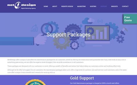 Screenshot of Support Page net9design.com - Support | Gloucester Website Design Company - captured Sept. 25, 2018