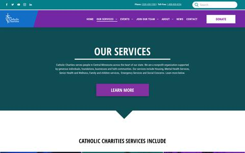 Screenshot of Services Page ccstcloud.org - Catholic Charities Services | Serving the People of Central Minnesota - captured Oct. 24, 2018