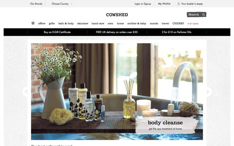 Screenshot of Home Page cowshedonline.com - Honest, Natural and Luxurious Bath & Body Products | Cowshed - captured Jan. 20, 2016