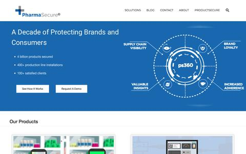 Screenshot of Home Page pharmasecure.com - Anti-Counterfeiting, Identification, and Brand Protection Solutions - captured Sept. 19, 2019