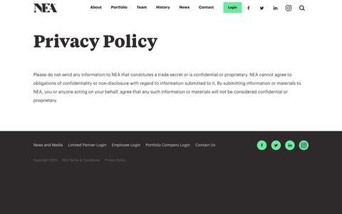 Screenshot of Privacy Page nea.com - Privacy Policy | NEA | New Enterprise Associates - captured May 23, 2019