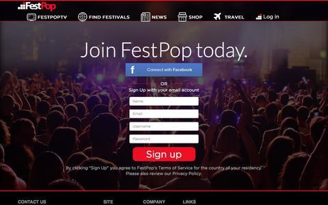 Screenshot of Signup Page festpop.com - Sign up | FestPop - captured Feb. 9, 2016