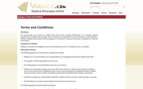 Screenshot of Terms Page vianica.com - ViaNica.com: Terms and Conditions - captured Oct. 26, 2014
