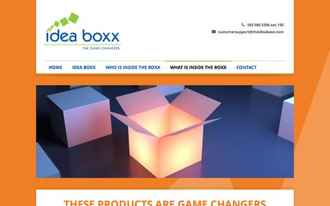 Screenshot of Products Page theideaboxx.com - Idea Boxx  What's Inside the Boxx » Idea Boxx - captured Oct. 6, 2014