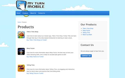 Screenshot of Products Page myturnmobile.com - Products | My Turn Mobile - captured Oct. 26, 2014