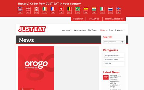Screenshot of Press Page just-eat.com - News | Just-Eat.com - captured July 20, 2014