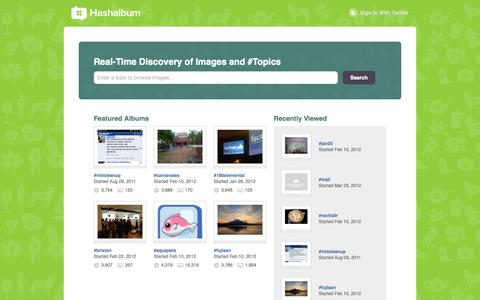 Screenshot of Home Page hashalbum.com - Twitter Hashtag Photo Albums | Hashalbum - captured Sept. 29, 2014