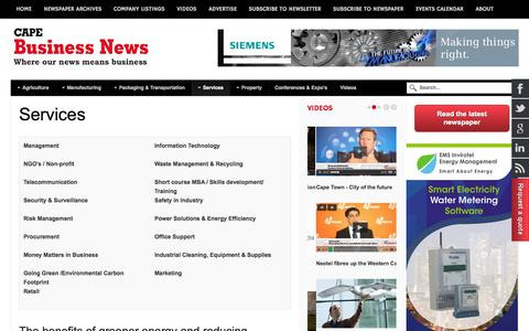 Screenshot of Services Page cbn.co.za - Services - Cape Business News - captured Oct. 30, 2014