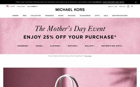 Screenshot of Home Page michaelkors.com - Michael Kors: Designer Handbags, Clothing, Watches, Shoes, And More - captured May 5, 2018