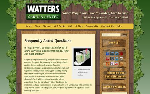 Screenshot of FAQ Page wattersgardencenter.com - Frequently Asked Questions - Watters Garden Center - captured Oct. 7, 2014