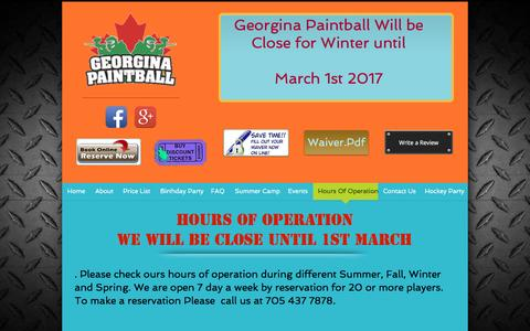 Screenshot of Hours Page georginapaintball.com - A Birthday Party you'll remember! Firstly, we would like to thank  | Hours Of Operation - captured Jan. 25, 2017