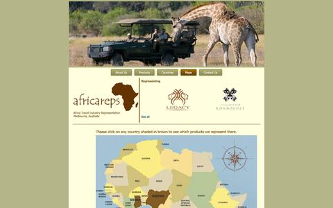 Screenshot of Maps & Directions Page africareps.com - Africa Reps > Maps - captured Sept. 30, 2014