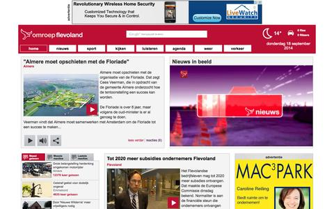 Screenshot of Home Page Maps & Directions Page omroepflevoland.nl - Nieuws uit Flevoland - captured Sept. 19, 2014