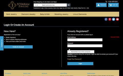 Screenshot of Login Page totaram.com - Customer Login - captured Oct. 10, 2017