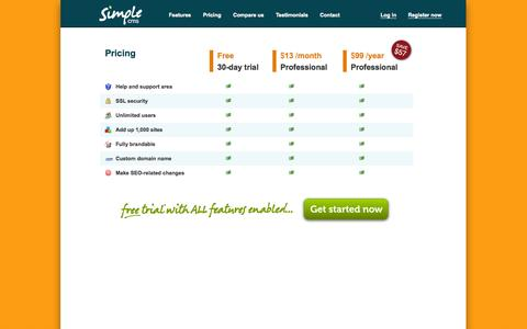 Screenshot of Pricing Page simplecms.com - Simple content management system :: Simple CMS :: Pricing - captured Oct. 30, 2014
