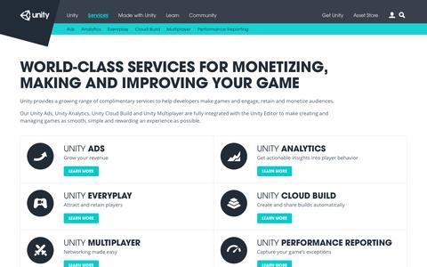 Screenshot of Services Page unity3d.com - Unity - Services - captured Nov. 20, 2015
