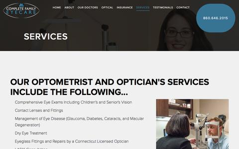Screenshot of Services Page completeeyes.com - Services - Complete Family EyeCare - captured Nov. 8, 2016