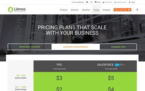 Screenshot of Pricing Page litmos.com - Pricing   Litmos LMS - captured Oct. 19, 2016