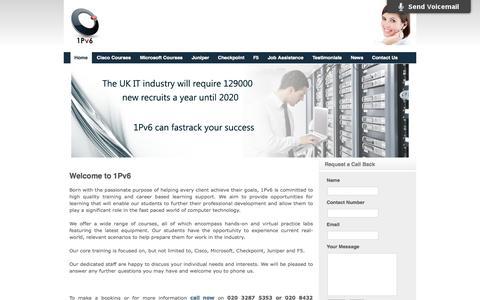 Screenshot of Home Page 1pv6.com - 1Pv6 Cisco Training | Microsoft Training | Cisco courses - captured Sept. 30, 2014