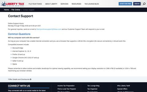 Screenshot of Support Page libertytax.com - Contact Support | Liberty Tax Service® - captured July 2, 2018