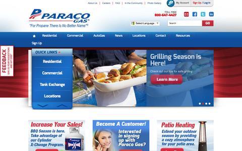 Screenshot of Home Page paracogas.com - Propane Gas Company | Heat with Propane | Paraco Gas - captured Oct. 10, 2014