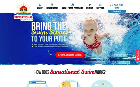 Screenshot of Home Page sunsationalswimschool.com - Private At-Home Swimming Lessons - captured Sept. 23, 2018