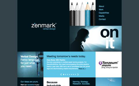 Screenshot of Home Page zenmark.com - Zenmark | A global branding company & naming agency - captured Oct. 7, 2014