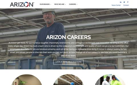 Screenshot of Jobs Page arizoncompanies.com - Careers - Arizon Companies - Family of Brands - Jobs - captured July 30, 2018