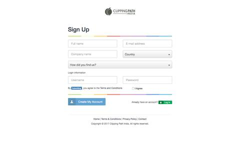 Screenshot of Signup Page clippingpathindia.com - Sign Up | Create a Personal Account | Clipping Path India - captured Feb. 1, 2017